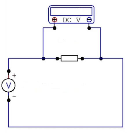 Fig. Scheme 3 multimeter connection when measuring DC voltage