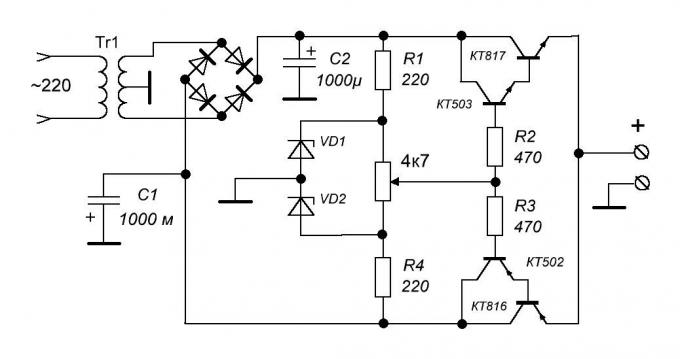 Description of power supply circuit continuously changing the polarity