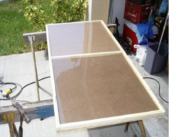 The basis of MDF, particle board, or OSB, glass and metal frame