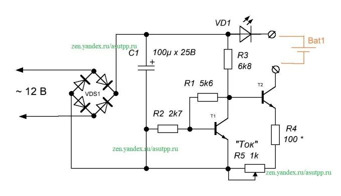 Description of the current regulator circuit, as a universal charger