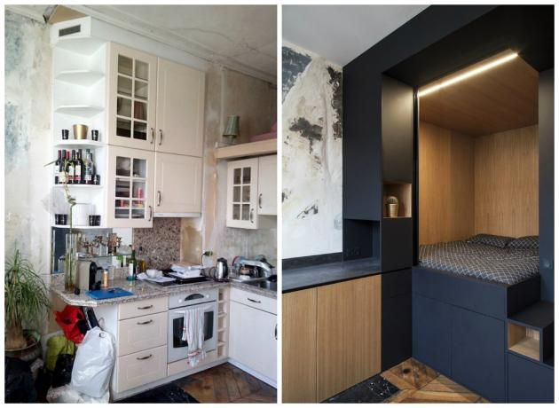 Bold interior odnushki 32 m² with a bedroom in the closet: before and after photos